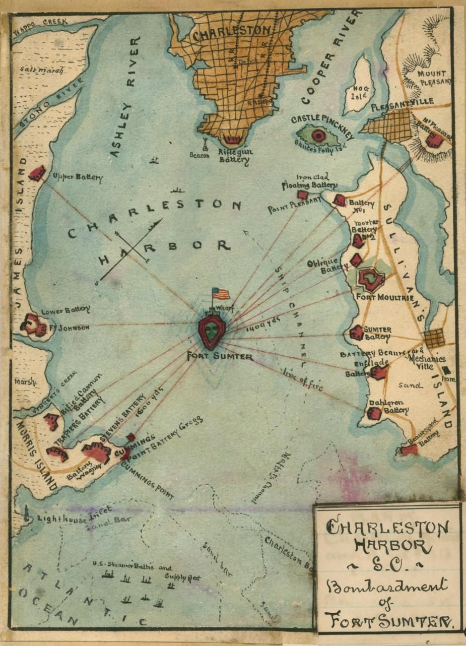 Fort Sumter On Us Map.Charleston Harbor S C Bombardment Of Fort Sumter Us History The