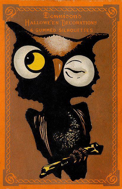 Vintage Halloween Ephemera ~ Dennison's Owl Hallowe'en Decorations Gummed Silhouettes / Seals