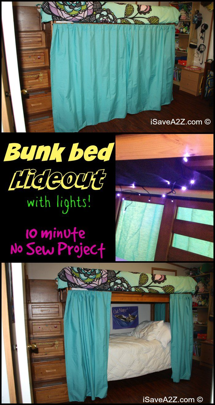 Loft bed curtains dorm - Bunk Bed Hideout With No Sew Curtains