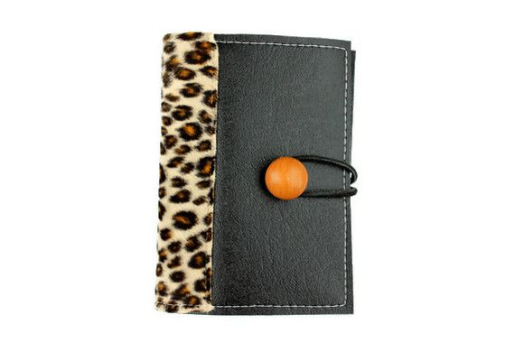 Black faux leather with animal print notepad cover note taker black faux leather with animal print notepad cover note taker journal card case journal cardsbusiness card holdersblack colourmoves