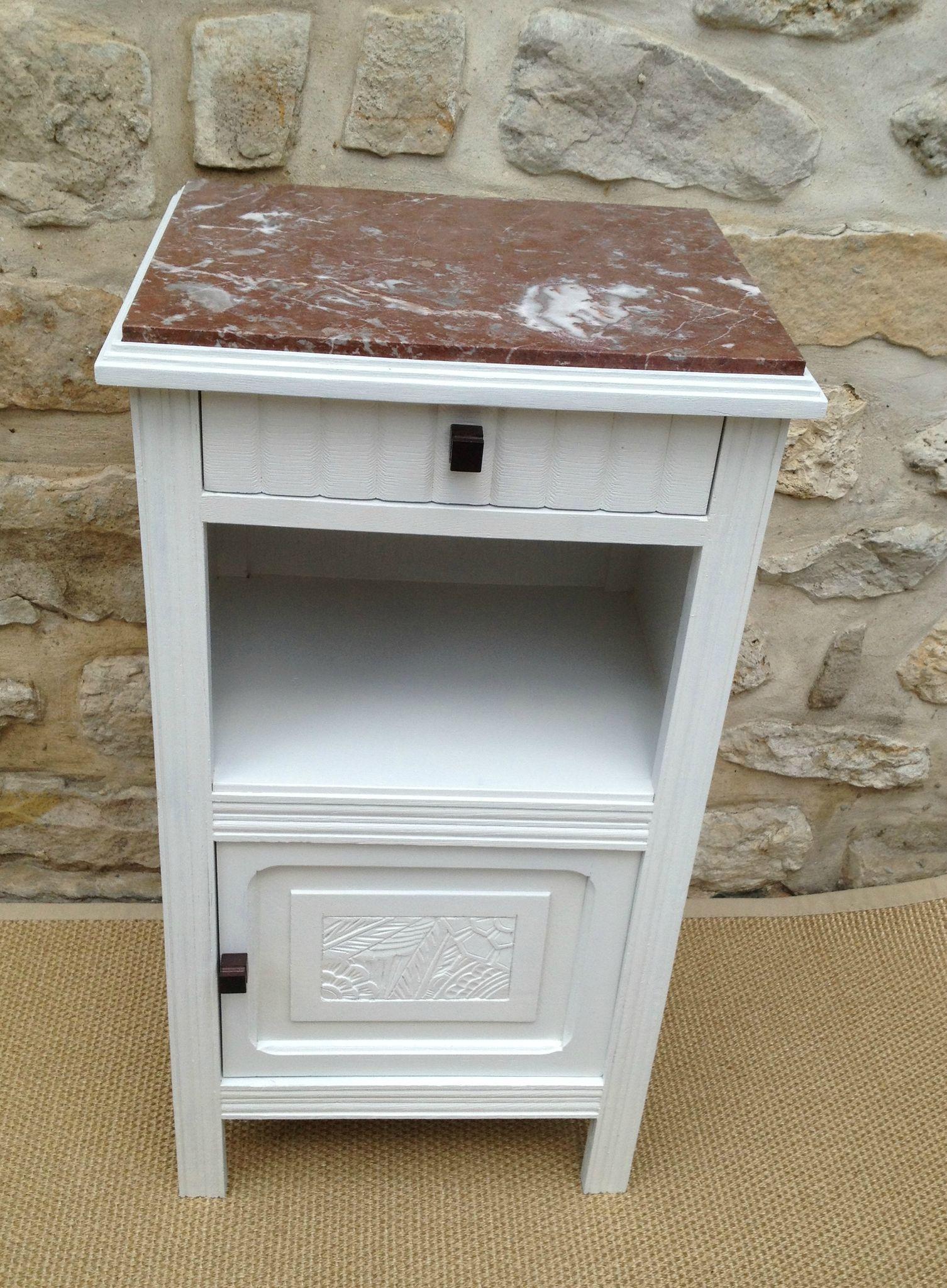 great ancienne table de chevet avec deux tiroirs repeinte en blanc dessus en marbre dimensions x. Black Bedroom Furniture Sets. Home Design Ideas