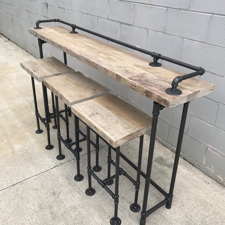 Rustic Gray Reclaimed Barn Wood Sofa Bar Table 7 Foot Wood Bar