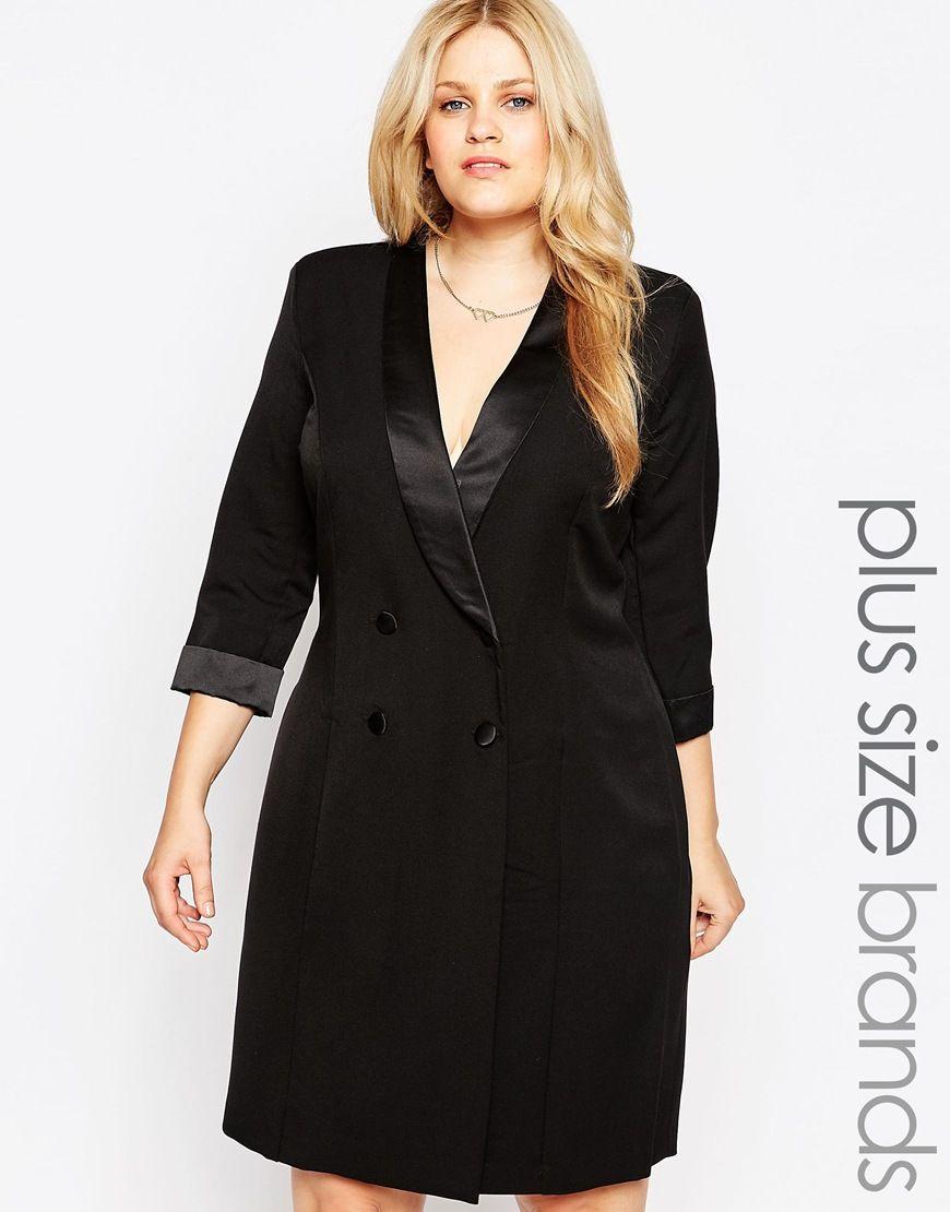 Lipstick Boutique (plus) Tuxedo wrap dress | Curves clothing ...