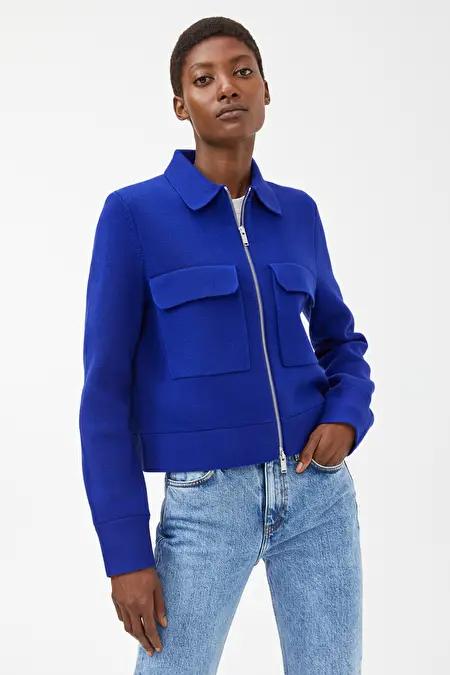 Merino Boxy Jacket Blue Knitwear Arket Gb In 2020 Knit Structure Fashion Mark Arket
