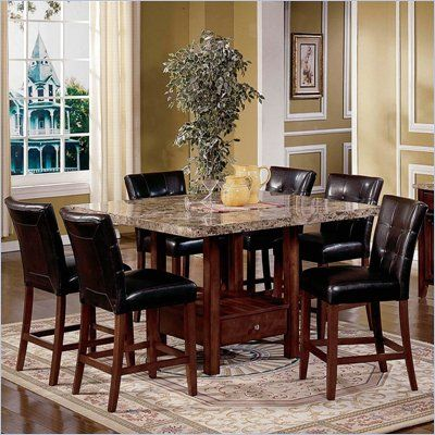 Steve Silver Montibello 7 Piece Dining Set Mn4848t Mn4848ptb Pkg2 Granite Dining Table Kitchen Table Settings Dining Table Marble