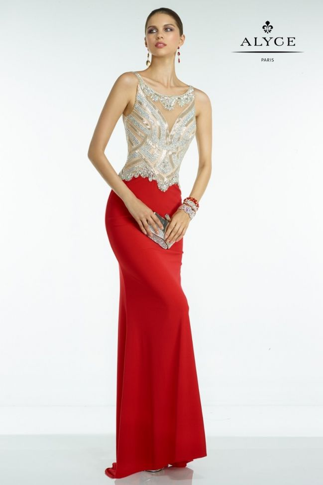 Dazzle all night in this fully sequin bodice and red dress with a scooping back and a bateau neckline.