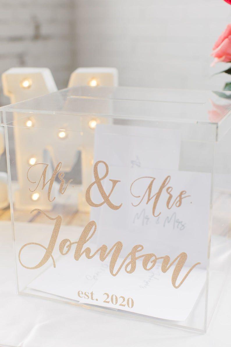Personalized Wedding Card Box I Acrylic Card Box I Wedding Etsy In 2021 Personalized Wedding Card Box Card Box Wedding Money Box Wedding
