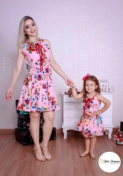 45b46d457f Vestido Rosa Floral para Mãe e Filha