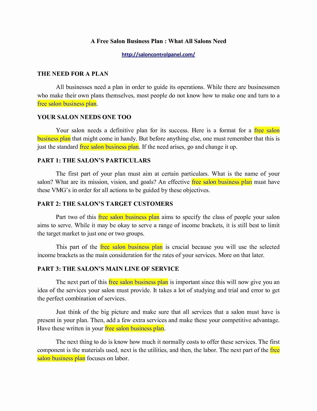 New Day Spa Business Plan Template Hair salon business