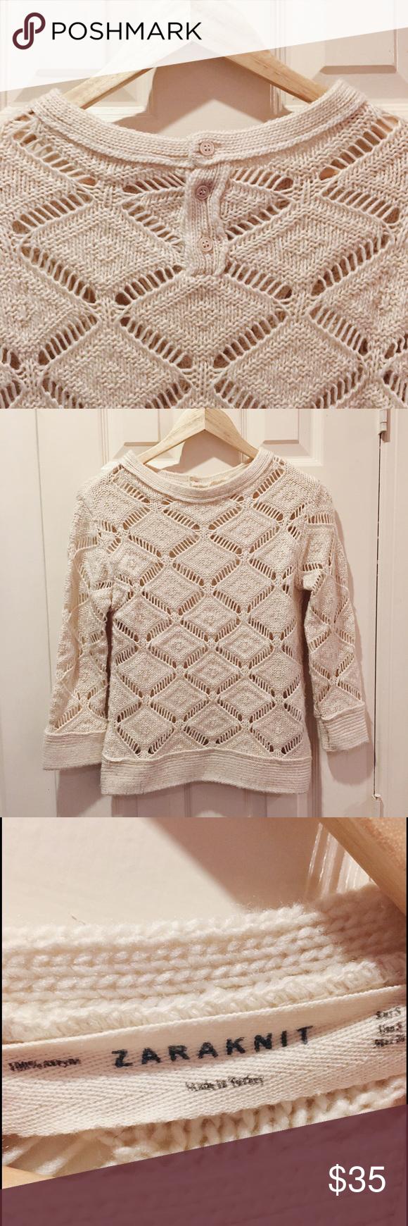 Zara // cream knit sweater | Scoop neck