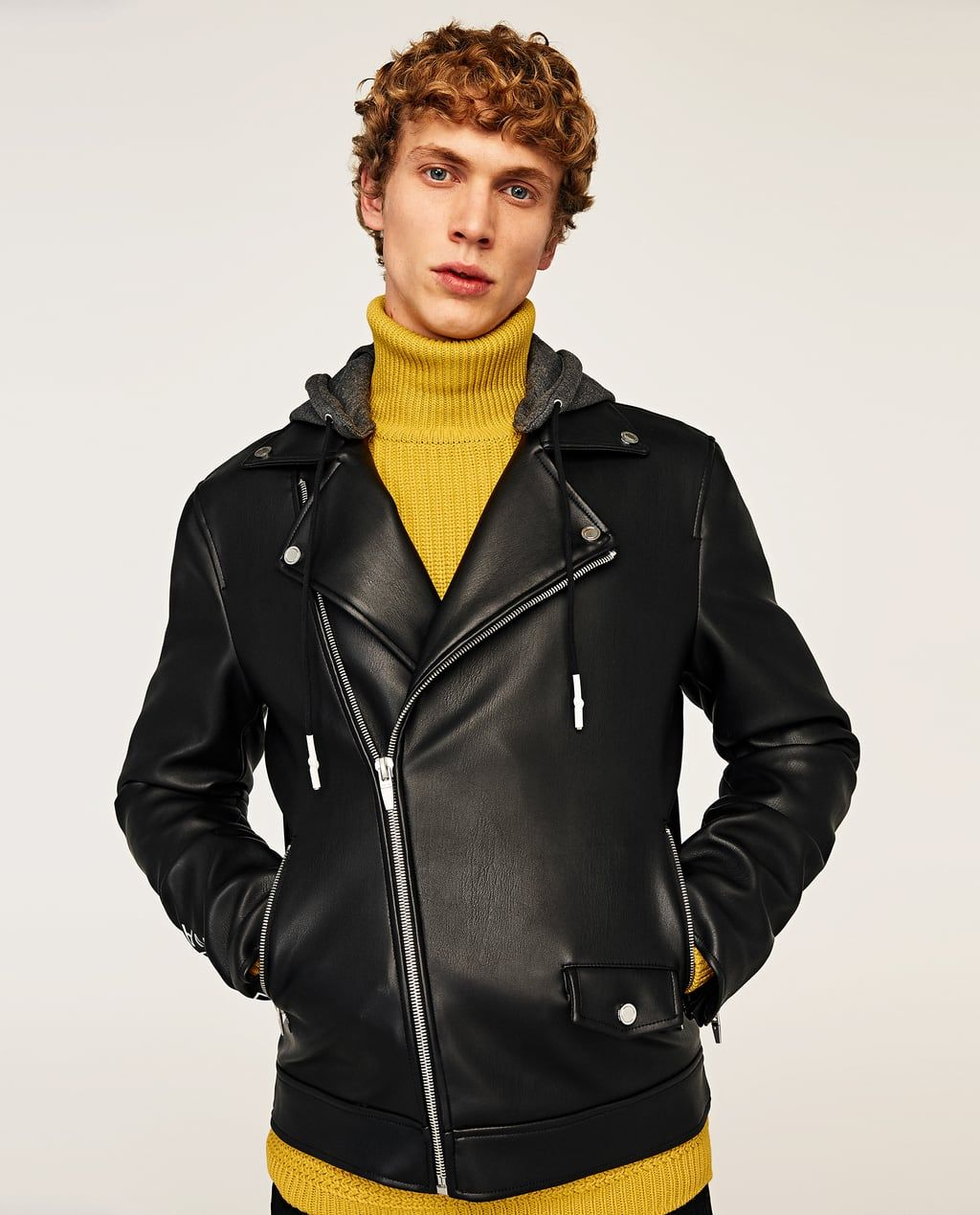 FAUX LEATHER JACKET WITH LETTERS Leather jacket, Faux