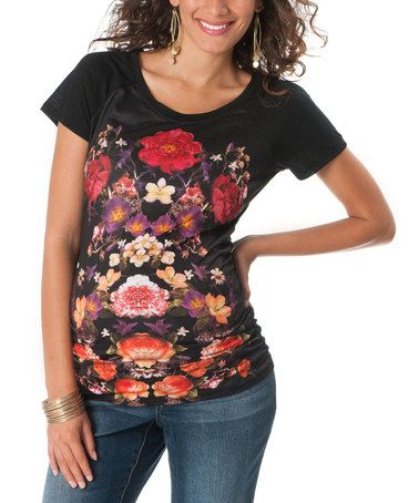 Another great find on #zulily! Motherhood Black Floral Ruched Maternity Tee - Women by Motherhood Maternity #zulilyfinds