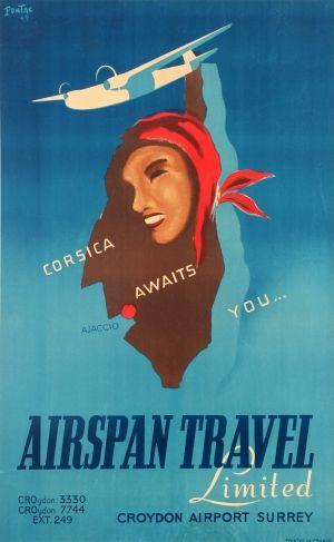 Corsica Awaits You Airspan Travel Croydon Airport 1949 - original vintage poster listed on AntikBar.co.uk