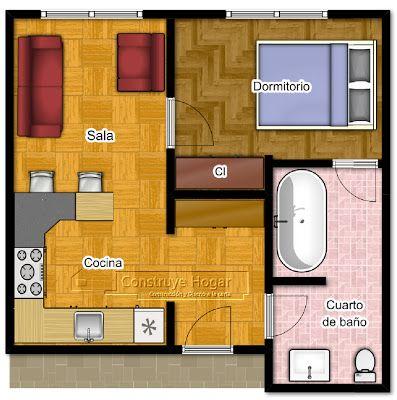Planos de apartamentos peque os de un dormitorio small - Disenos de apartamentos pequenos ...
