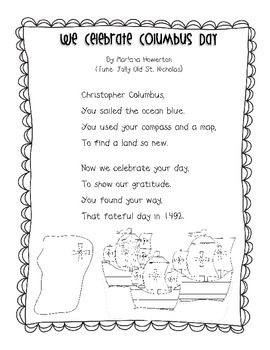 We Celebrate Columbus Day Song For Ela Preschool Music Activities Christopher Columbus Activities Poems About School