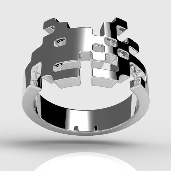 Sterling Silver Space Invader Ring