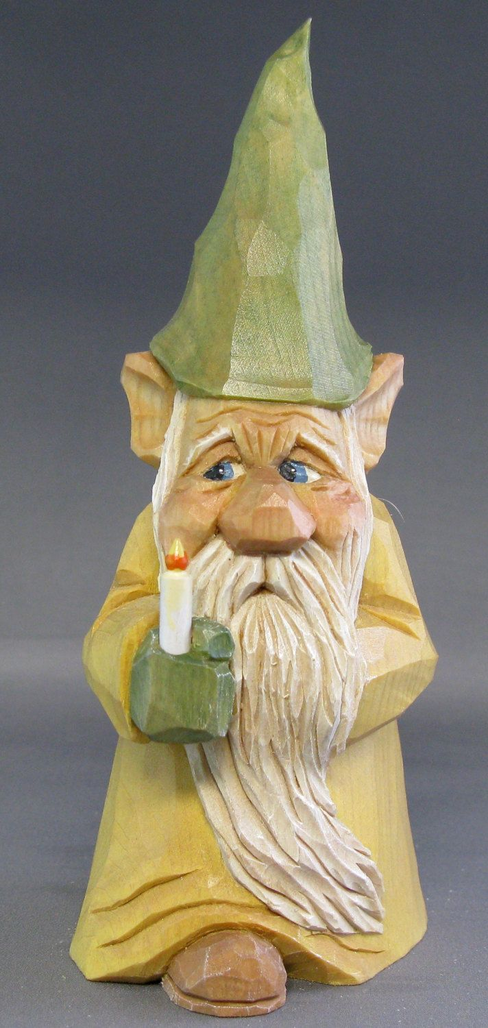 Gnome elf christmas wood carving candle scandinavian