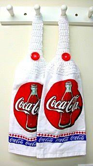 Superb Coca Cola Kitchen Towels W/Button Loop