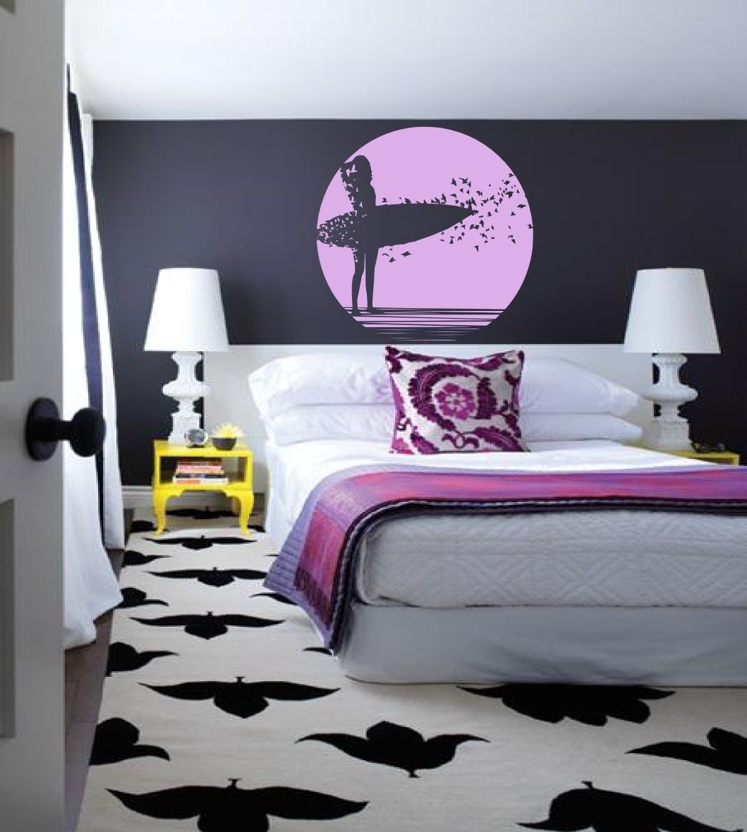 Surfer girl with her surfboard and a sunrise vinyl wall art surfer girl with her surfboard and a sunrise vinyl wall art decals graphic sticker amipublicfo Gallery