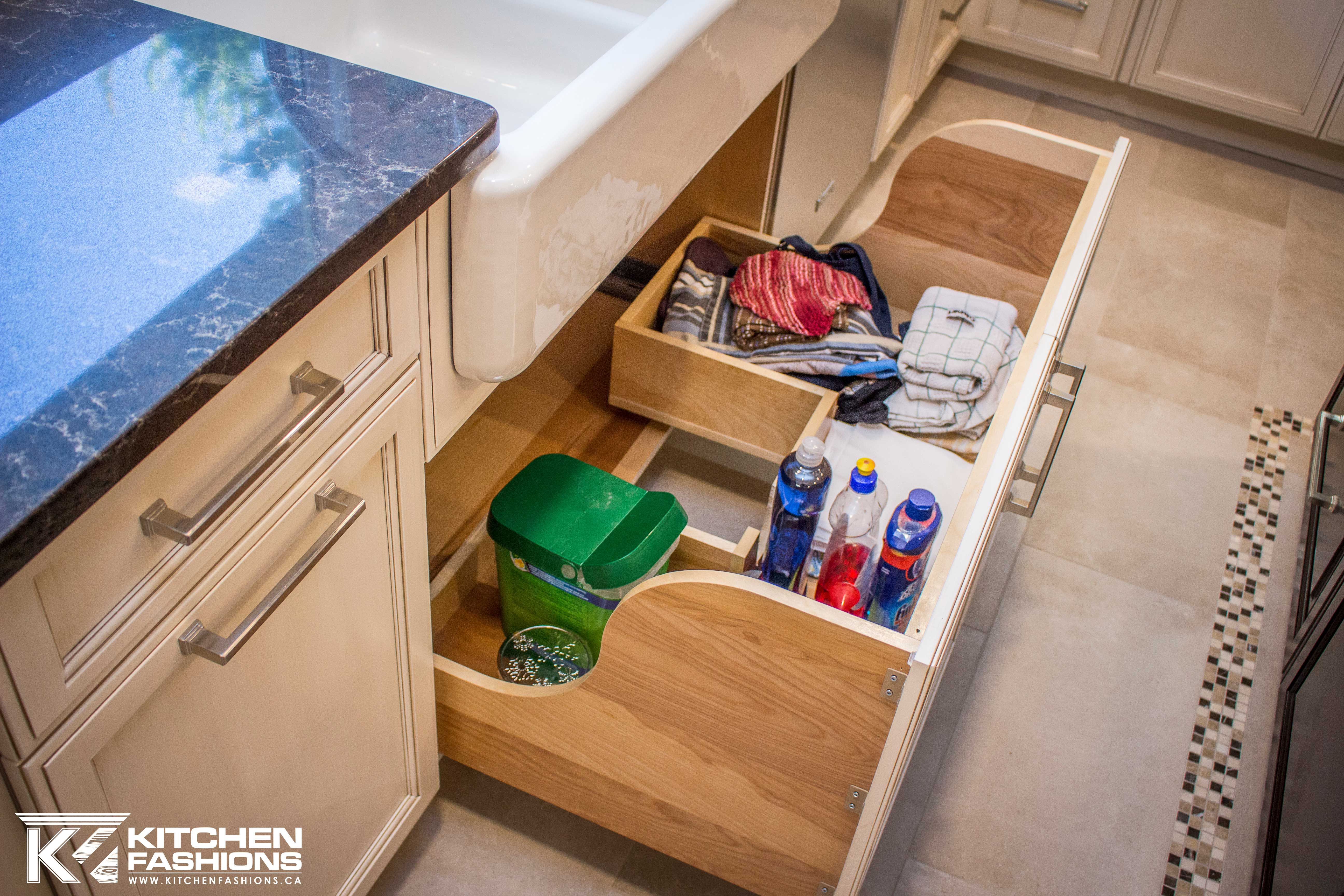 Roll Out Drawer Under Sink Cabinet For Cleaning Supply Access