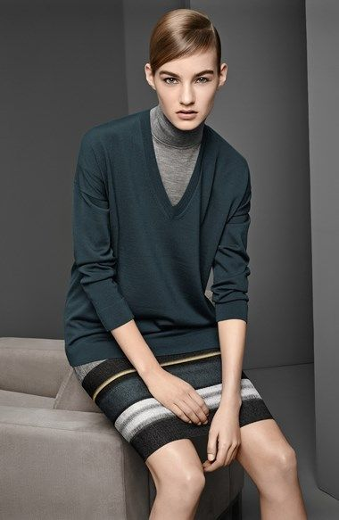 BOSS HUGO BOSS V-Neck & Turtleneck Sweaters, Stripe Skirt  available at #Nordstrom