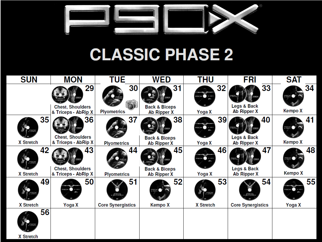 P90x Classic Calendar Phase 2