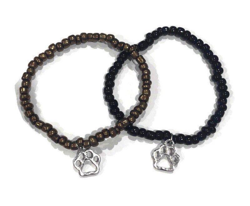 Paw Print Bracelet, Paw Print Stretch Bracelet, Dog Lovers Jewelry, Pet Jewelry, Dog Lovers Bracelet, Gift for Dog Lovers, Gift for Women