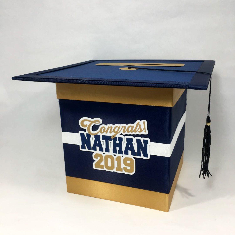 graduation cap card box  navy gold  graduation party