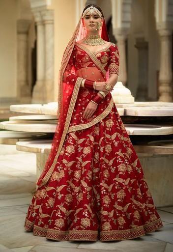 65aae5a832b7b Sabyasachi Inspired Red Color Wedding Lehenga Choli in 2019 ...