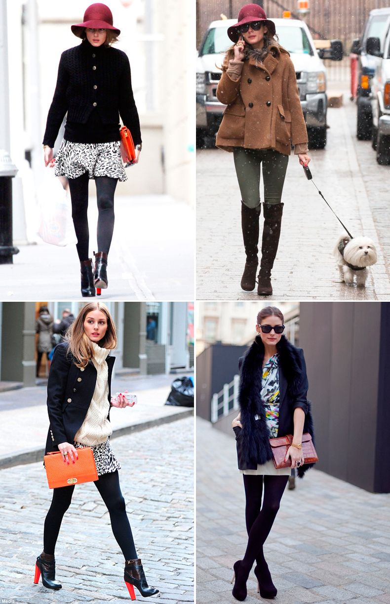 Olivia Palermo opaques and ankle boots