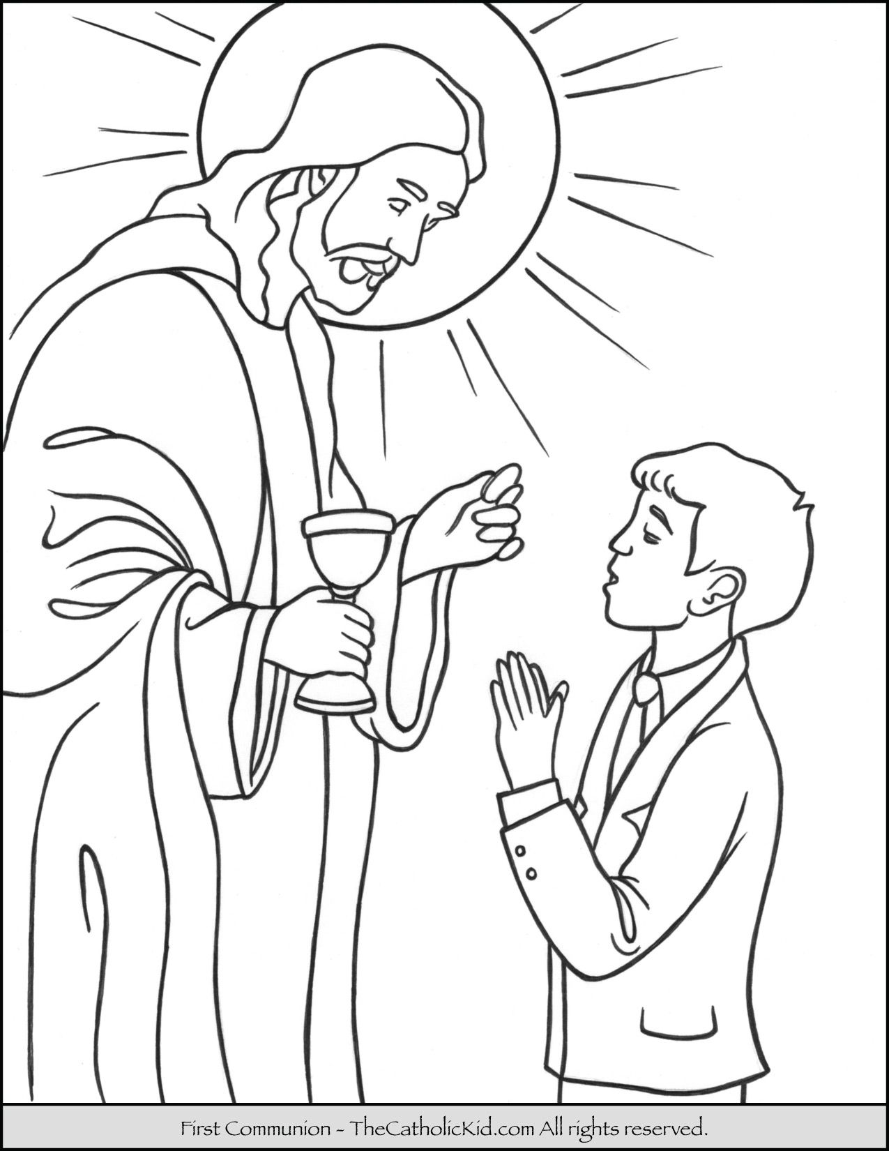 First Communion Boy Coloring Page With Jesus First