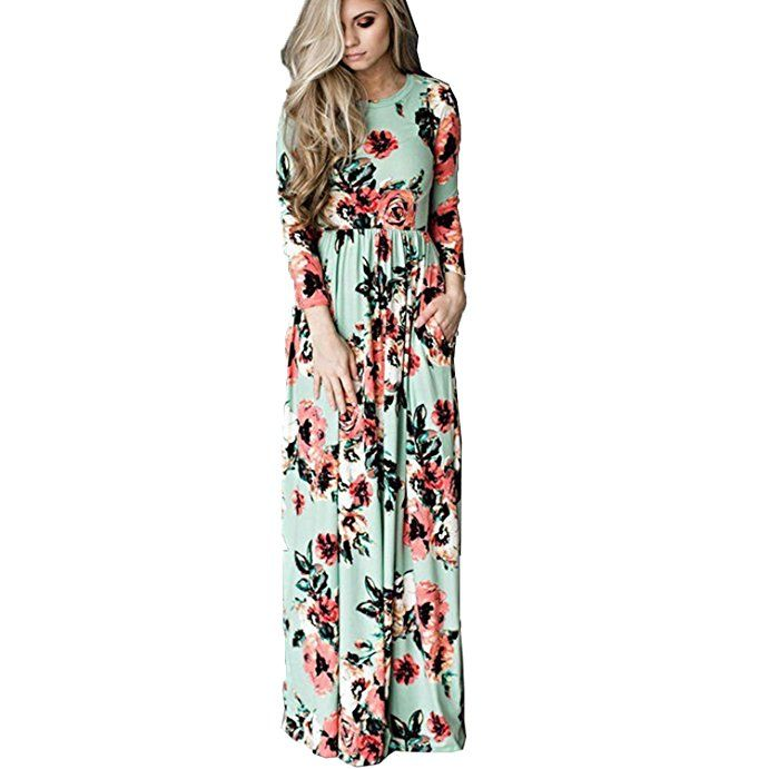 beea17e0568 Kinikiss Women s Floral Sleeveless Flower Print Boho Summer Beach Maxi Long  Dress (XL
