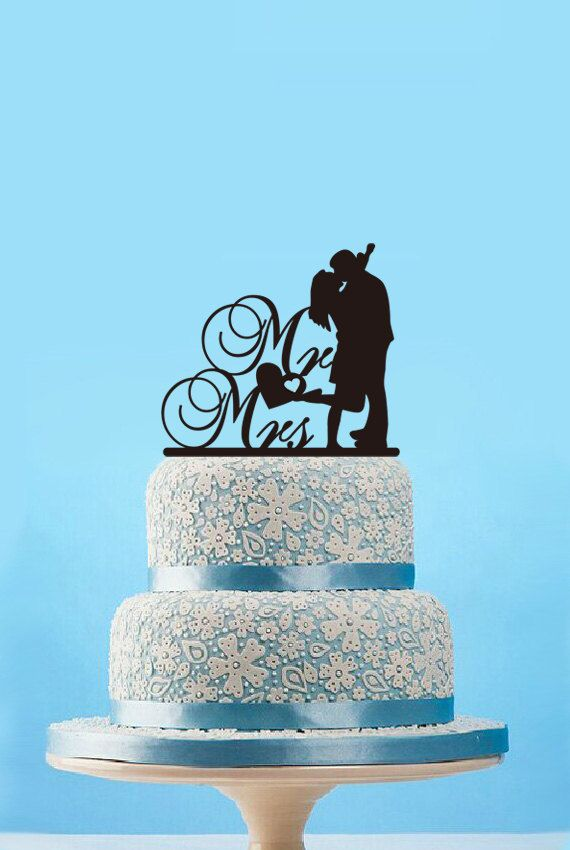 Mr And Mrs Cake Topper Funny Wedding Cake Topper Silhouette Kiss