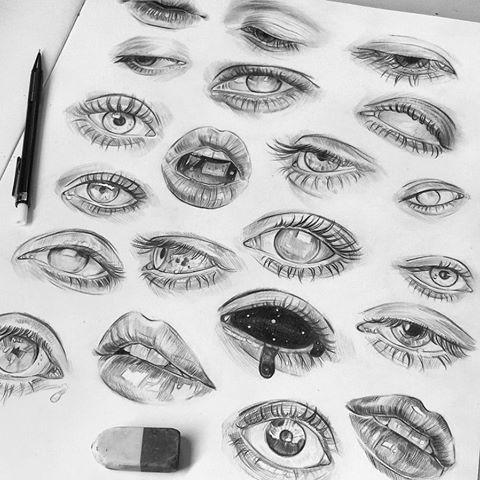 Nearly filled up this page of eye studies. Not trying to make them super realistic, but instead I'm just using some sketchy crosshatch lines to form them ☺ | #tomaszmro #mrozkiewicz #realisticeye