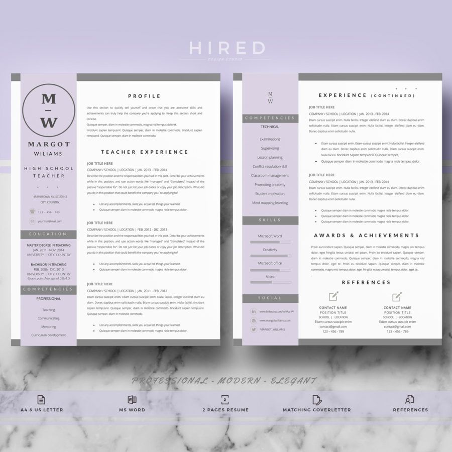 Teacher Resume Template For Ms Word Margot  Teacher Resume