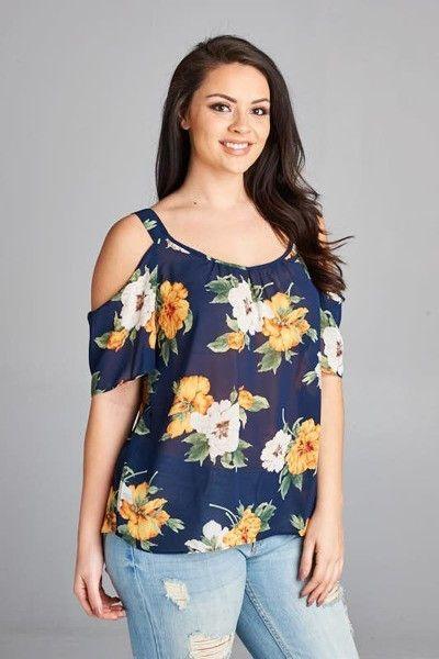 7532455a633a0b Plus Chiffon Bold Floral Print Cold Shoulder Blouse