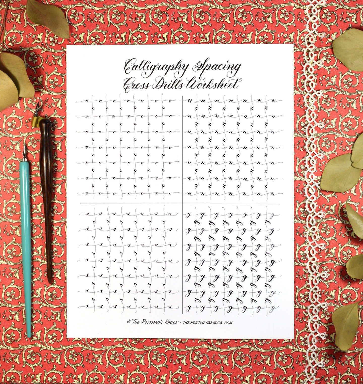 Free Calligraphy Spacing Cross Drills Worksheet