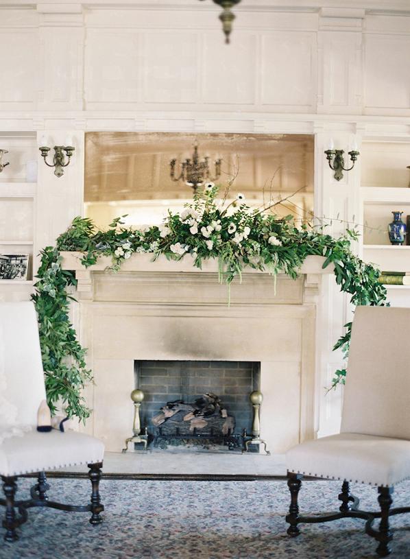 Organic indoor winter wedding mantle and flowers