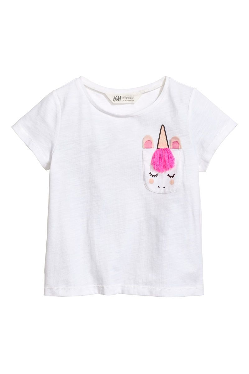 d6c8ee0d18bc5 T-shirt with Chest Pocket | White/unicorn | KIDS | H&M US | SPRING ...