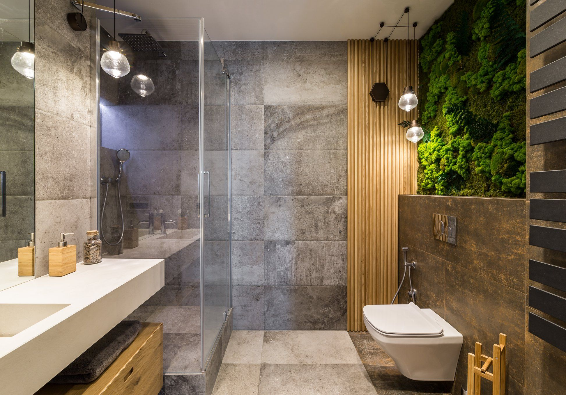 Wooden Panels Batten Plank And Moss Stabilized Featured In Bathroom Interior Bathroom Wall Panels Stylish Bathroom Bathroom Design
