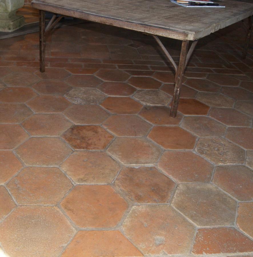 Antique Reclaimed French Hexagon Format Terracotta Tiles