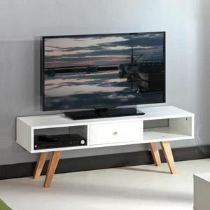 LUND Meuble TV scandinave mélaminé blanc mat pieds en hªtre