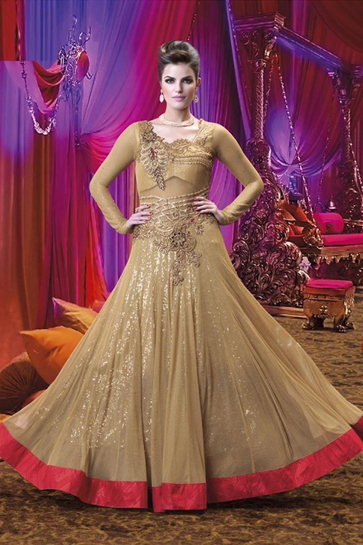 Esoteric Beige Color Bridal Wear Designer Gown | Indian dresses ...