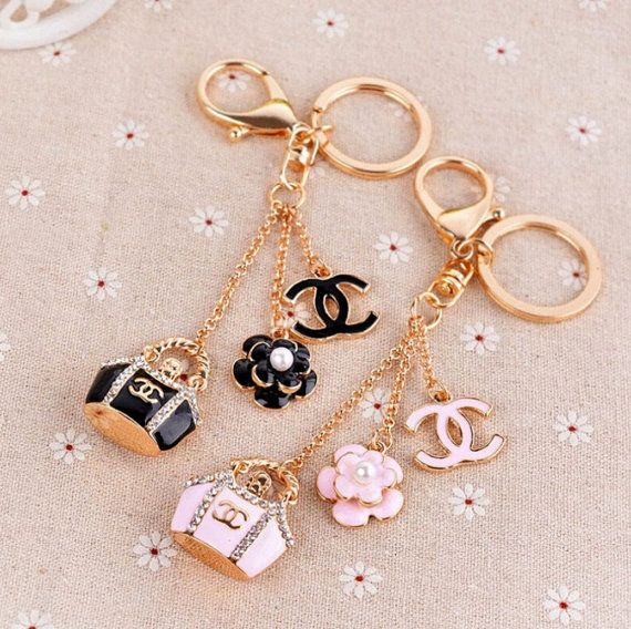 Pink Or Black Chanel Inspired Keychain Bag Charm By Girlysupplies