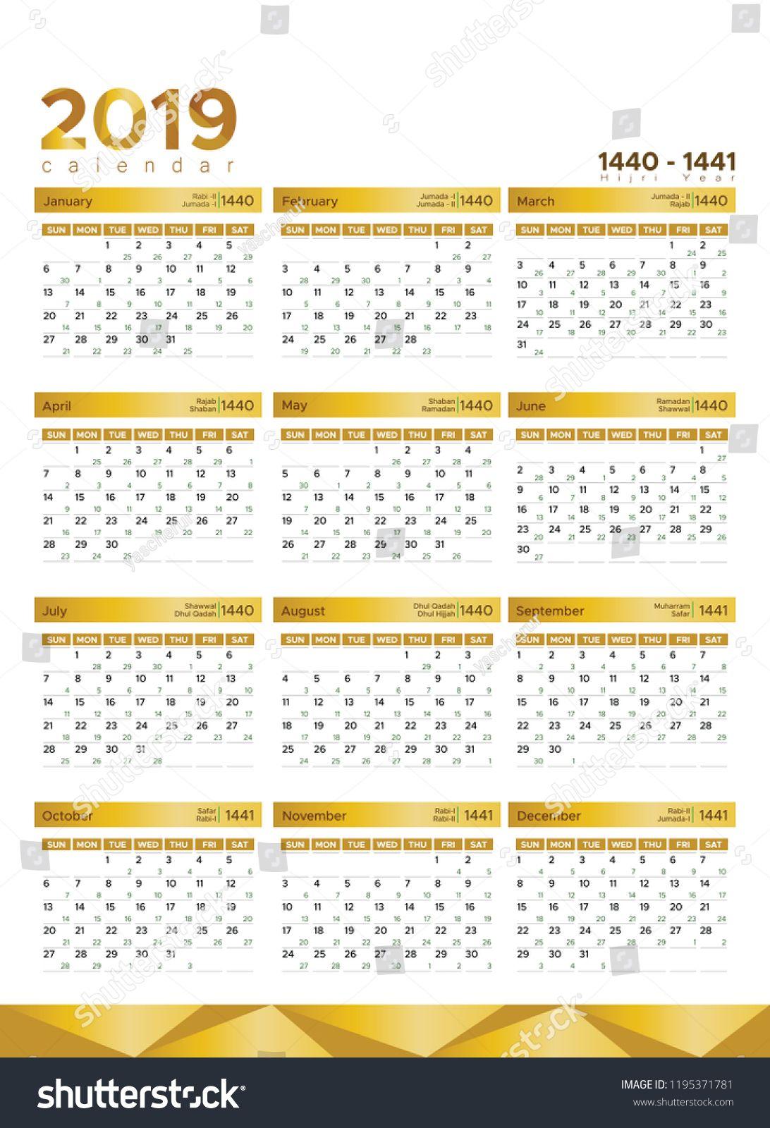 New Year Calendar With Hijri Date In Clean