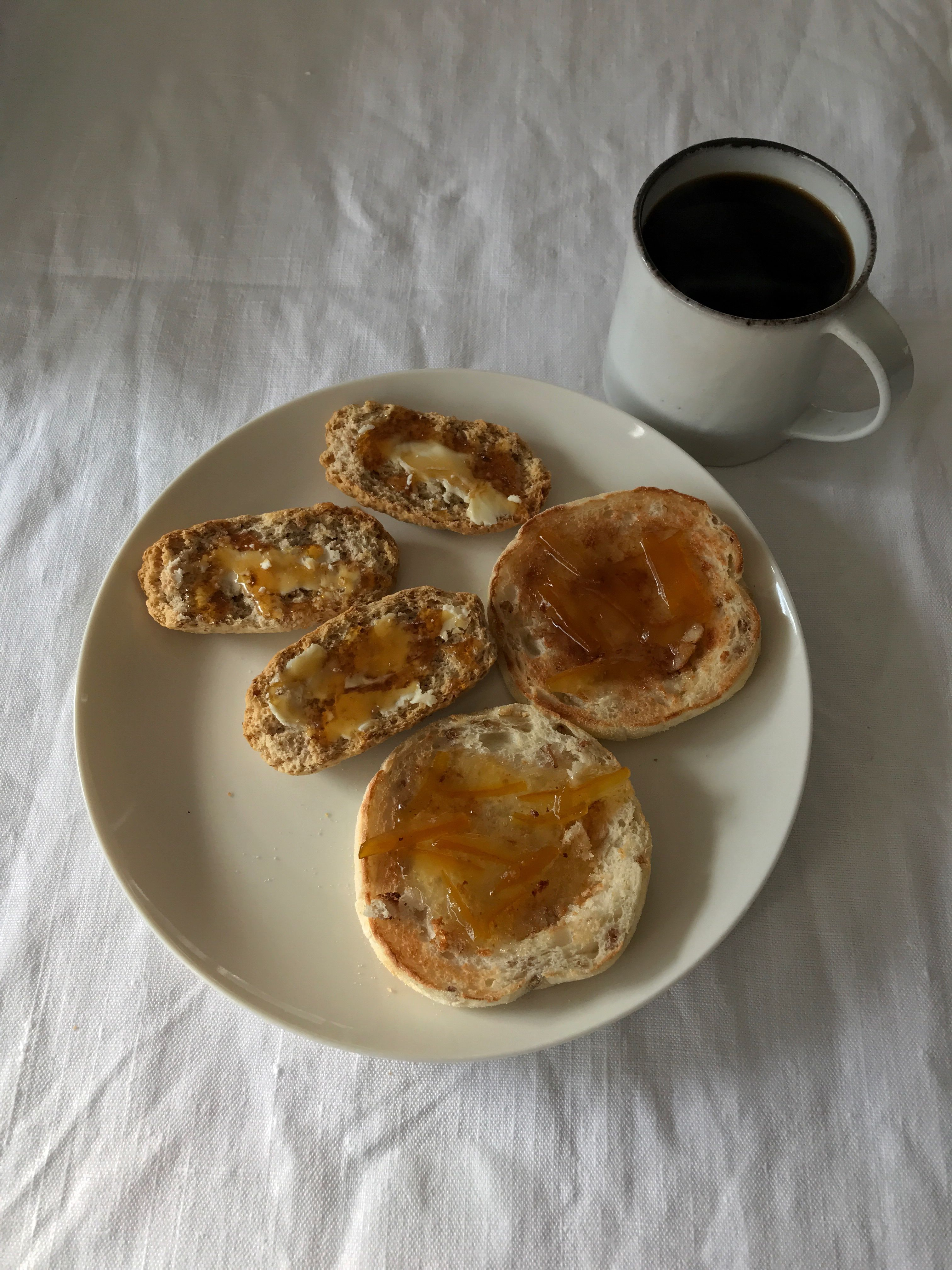 Good morning! ☀ Yuzu jam on muffins and honey butter on