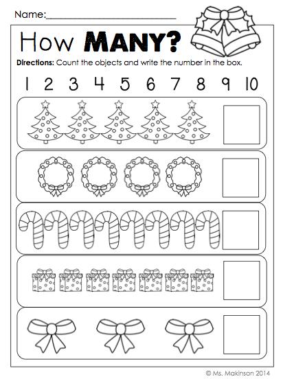 December Printables Kindergarten Literacy and Math
