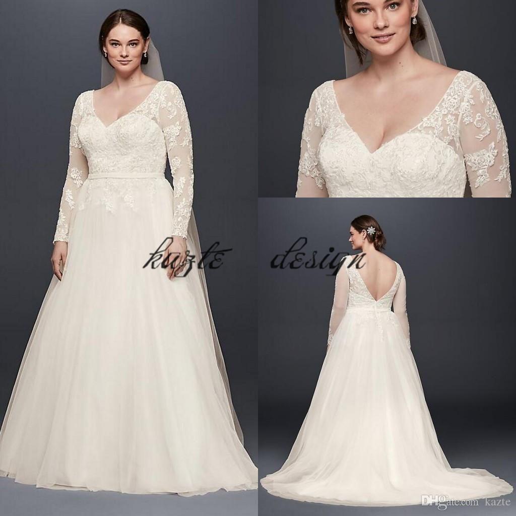 Plus size long sleeve wedding dress with low back oleg cassini