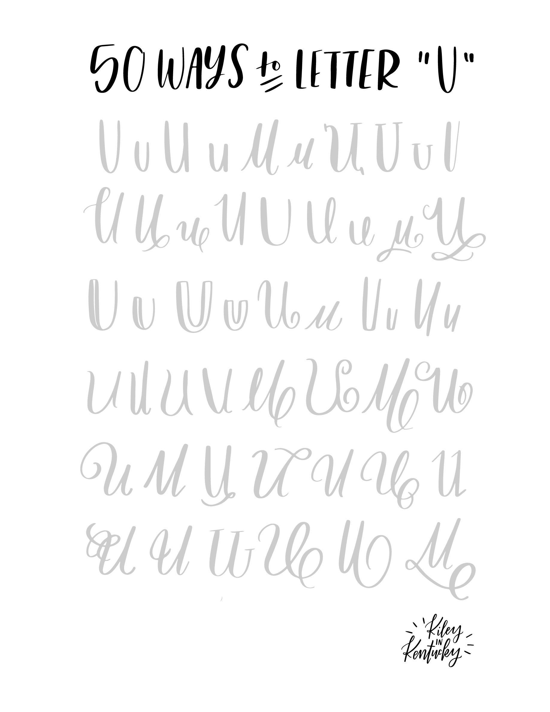 50 Moglichkeiten Den Buchstaben U Zu Lettern Handschriftliche
