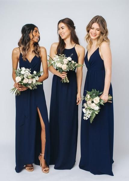 Photo of Gorgeous mix & match bridesmaids dresses in navy,F0374